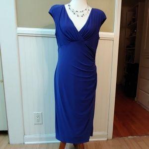 V NECK SHEATH CAP SLEEVE DRESS - BLUE